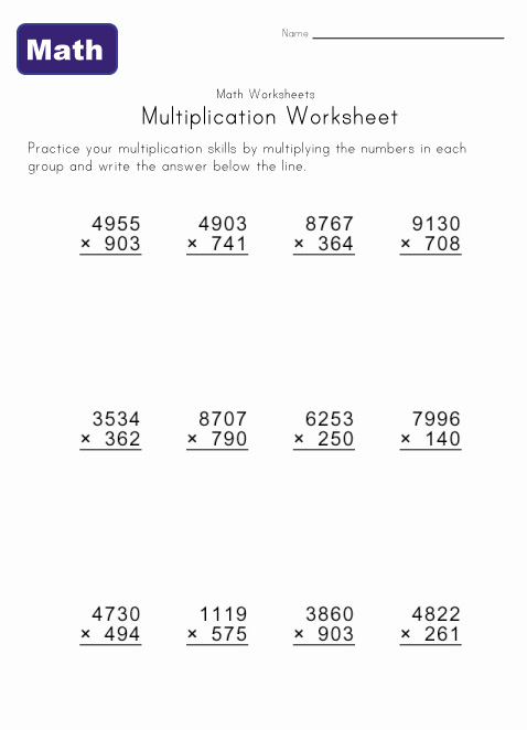 multiply worksheet 8