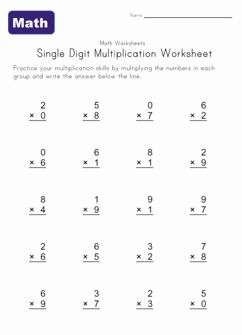 single digit multiplication worksheet 2