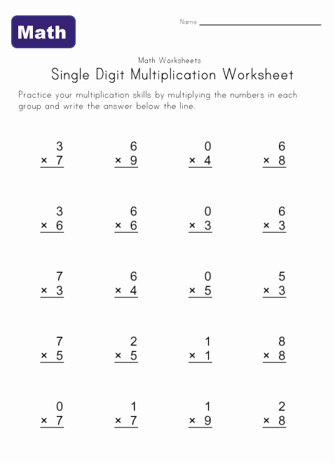 single digit multiplication worksheet 3