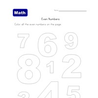 color even numbers worksheet