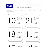 learning odd and even worksheet