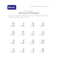 easy subtraction worksheet six