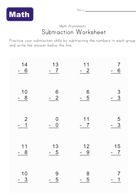 simple subtraction worksheet five