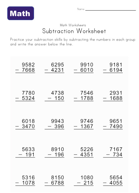 Digit Subtraction with Regrouping Worksheet