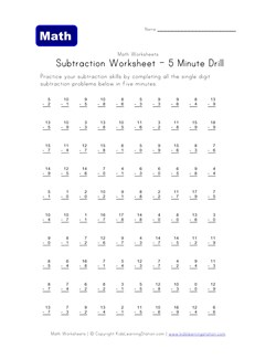 math worksheet : five minute subtraction drill worksheet  kids learning station : Timed Subtraction Worksheets