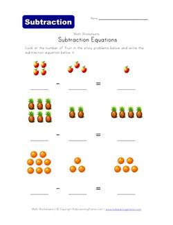 math worksheet : subtraction equations worksheet  fruit theme  kids learning station : Subtraction Equations Worksheets