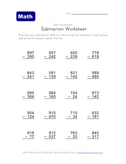 Printables Subtracting Across Zeros Worksheets subtraction across zeros worksheet davezan subtracting money worksheets super teacher