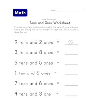count tens and ones worksheet