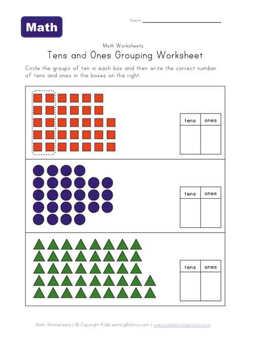 tens and ones grouping worksheet two of two kids learning station. Black Bedroom Furniture Sets. Home Design Ideas