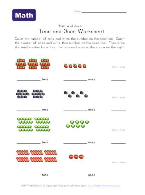 Tens And Ones Worksheets : Tens and ones worksheet fruit theme kids learning station