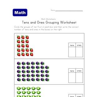 tens ones grouping fruit worksheet. Black Bedroom Furniture Sets. Home Design Ideas