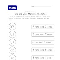 ones tens matching worksheet