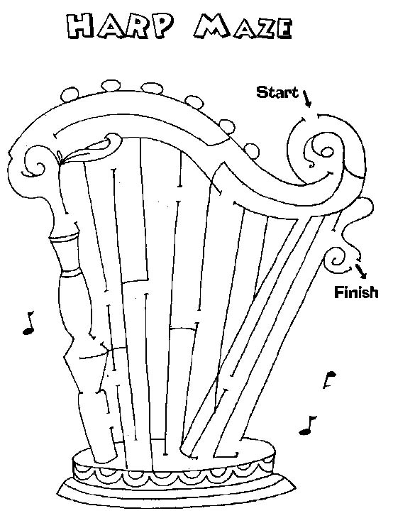 Printable Mazes Print Your Maze Harp Puzzle At