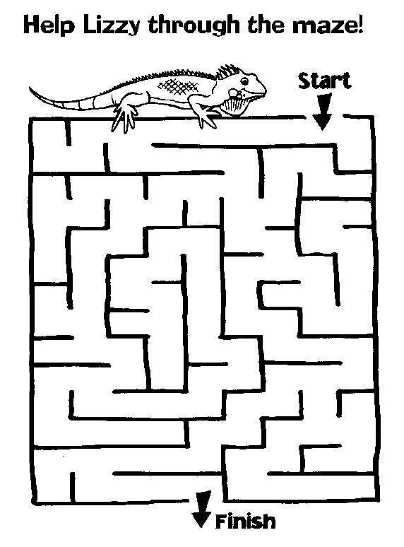 Printable Mazes Print Your Maze Lizard Puzzle At