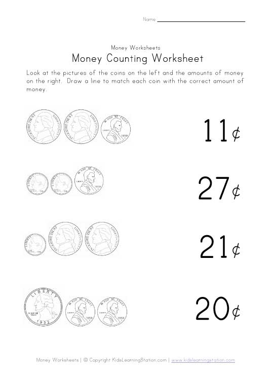 kids money worksheet