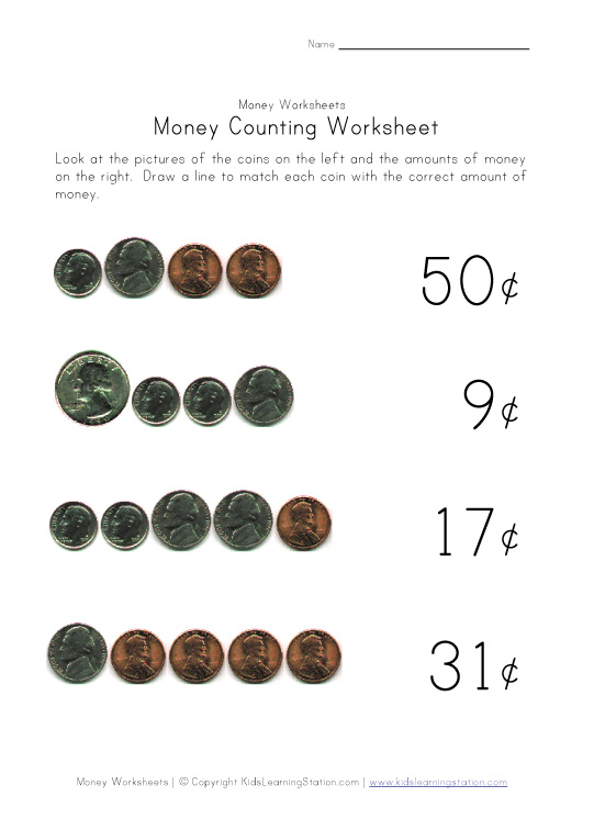coins for kids worksheet