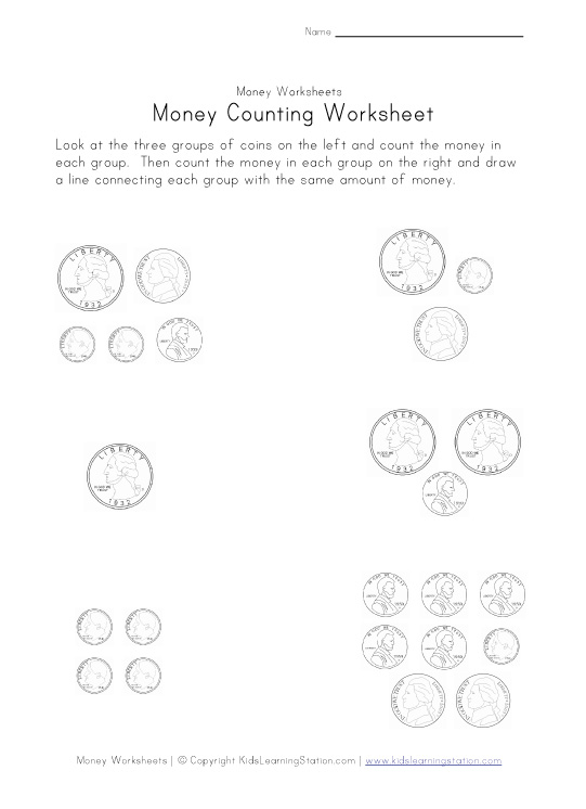 money matching worksheet