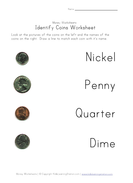 coin names color worksheet