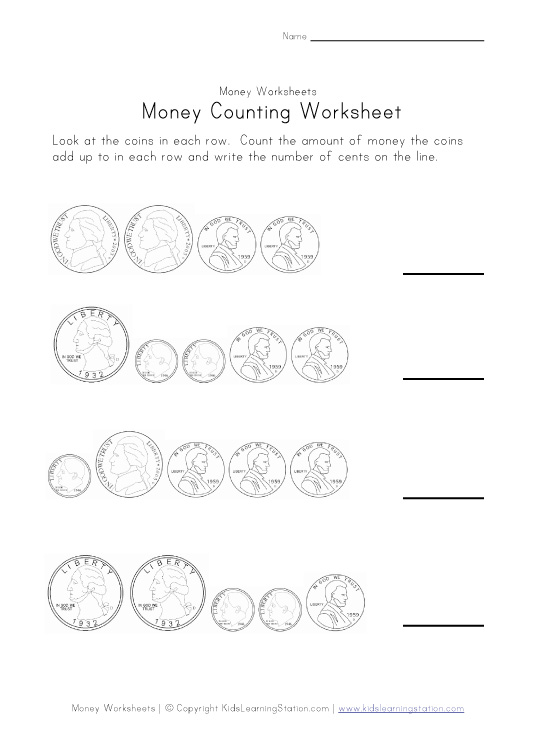 This group of money worksheets is designed to get kids to count up the ...