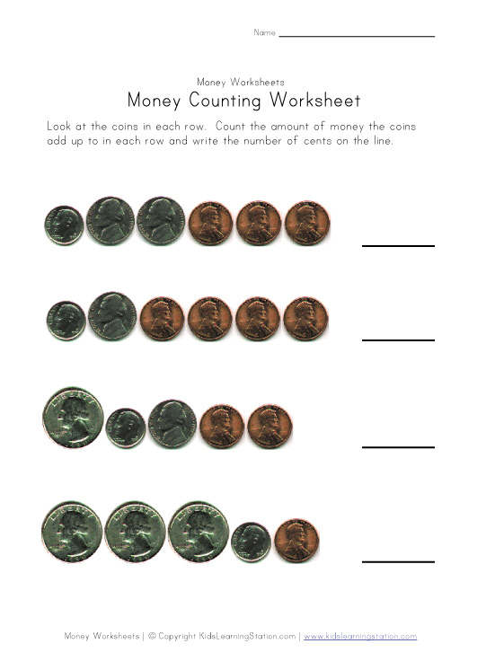 kids money counting page