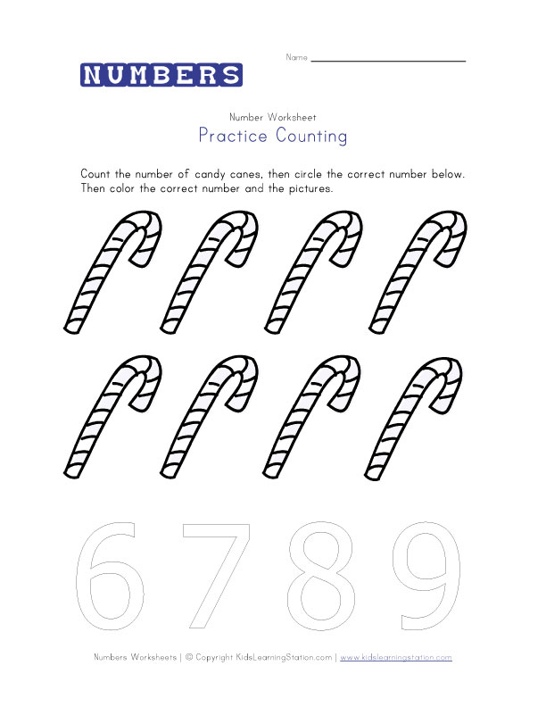 number 8 counting worksheets