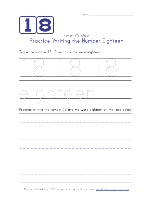 ... the Number Eighteen | Number Worksheets | Kids Learning Station