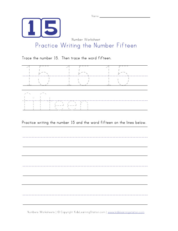 Writing the Number 15 Worksheet