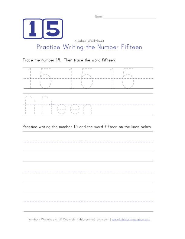 Number 15 Worksheet Writing number fifteen 15