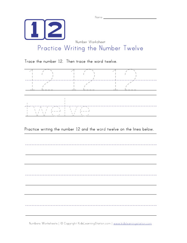 Writing Number Twelve 12