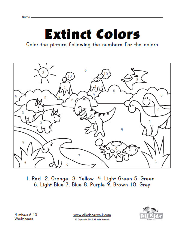 Colour By Number Dinosaur : Dinosaur color by numbers printable