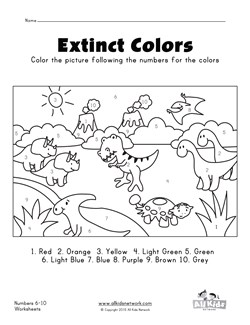 math worksheet : dinosaurs color by numbers 1  10 worksheet  kids learning station : Number Worksheets For Kindergarten 1 10