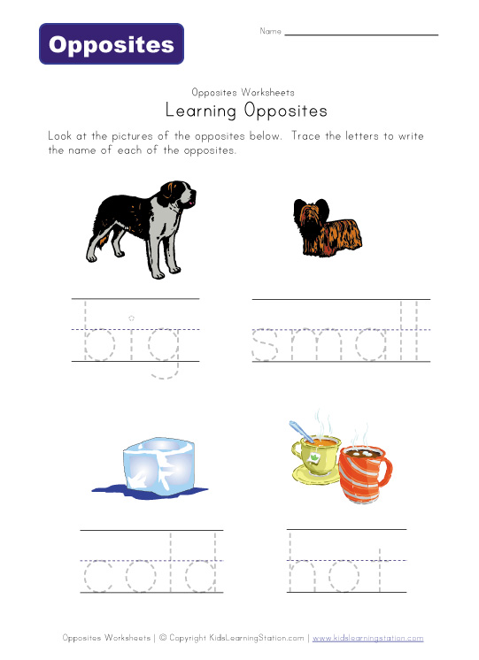 Number Names Worksheets www opposite words in english : opposite words - tarantataranta