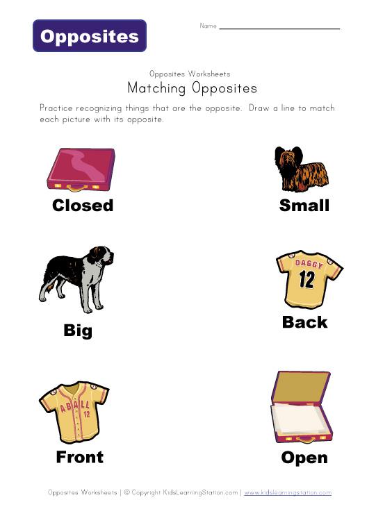 Opposites Worksheets | ABITLIKETHIS