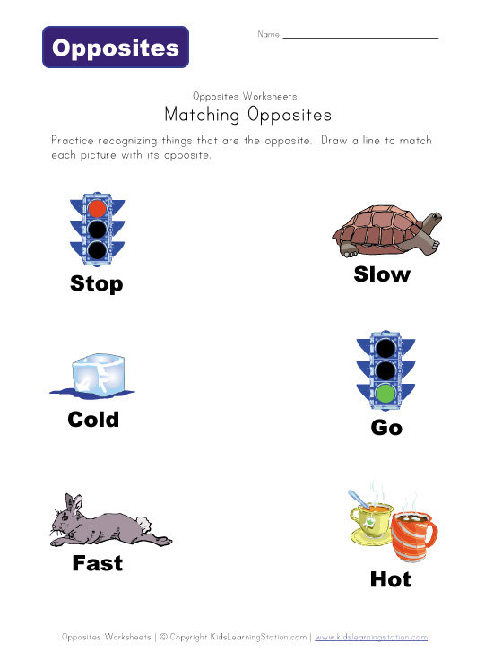 Matching Opposites Worksheets | Kids Learning Station