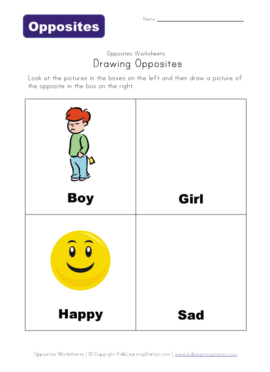 draw opposites worksheet