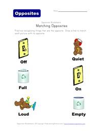 math worksheet : matching opposites worksheets  kids learning station : Opposites Worksheets Kindergarten