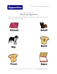 math worksheet : matching opposites worksheets  kids learning station : Opposites Worksheet Kindergarten