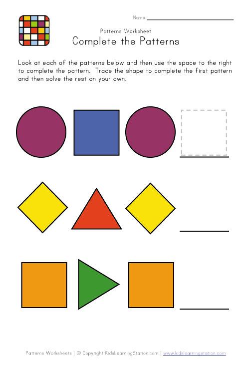 easy preschool patterns worksheet 2 kids learning station. Black Bedroom Furniture Sets. Home Design Ideas