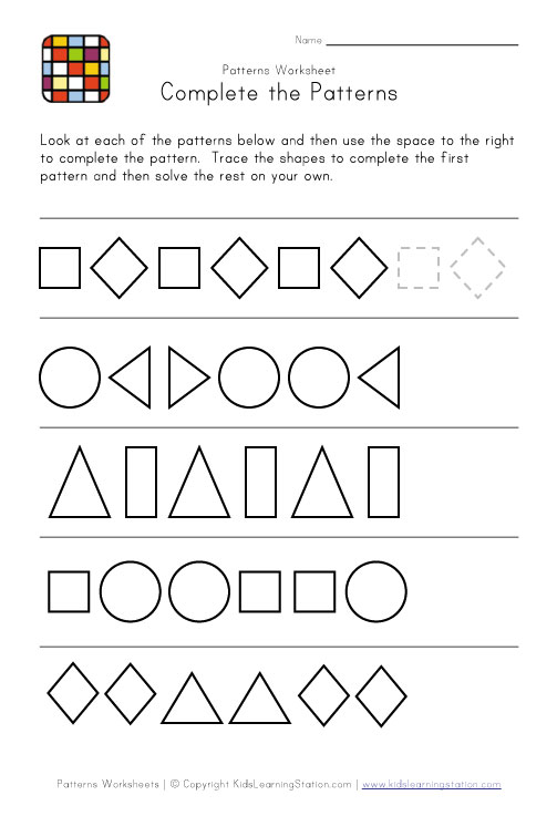 Math Worksheets - Number Patterns - CyberSleuth Kids.com :Student