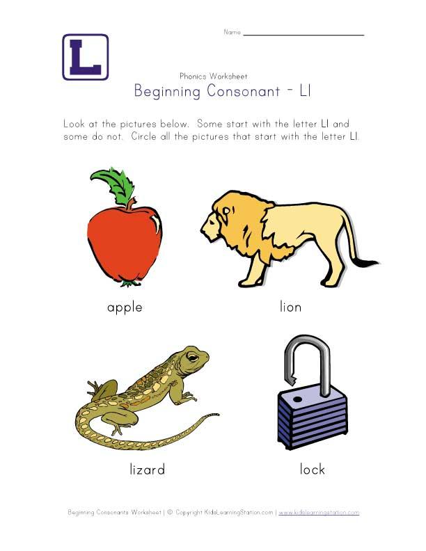 Beginning Consonants Letter L Worksheet Printable Pre K