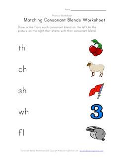 math worksheet : matching consonant sounds  worksheet four  kids learning station : Kindergarten Blends Worksheets