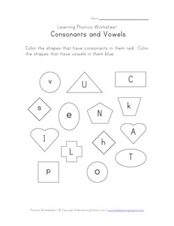Consonants and Vowel Phonics Worksheets | Kids Learning Station