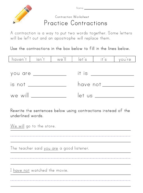 Contractions Worksheet | Kids Learning Station