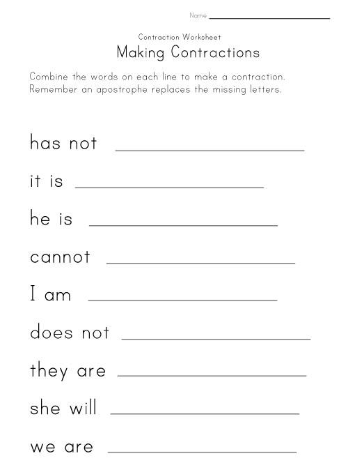Contraction Words Worksheet Making worksheet