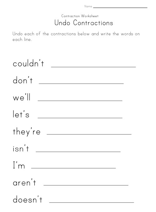 All Worksheets Worksheets For Contractions Free Printable – Labor Contractions Worksheet