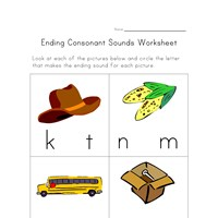 ending consonants worksheet three