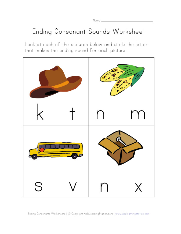 Ending Sounds Worksheets – Ending Sound Worksheets for Kindergarten