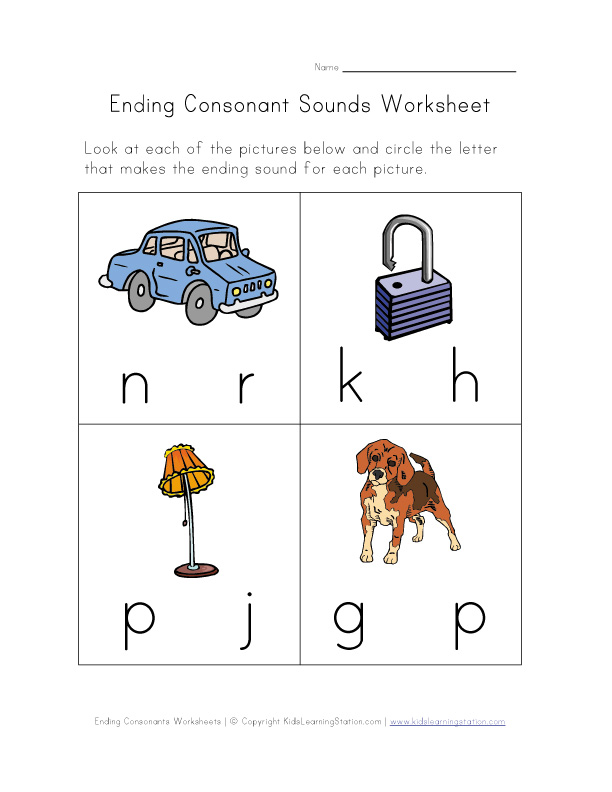 Free book ending consonants draw line printable kindergarten PDF – Ending Sound Worksheets for Kindergarten