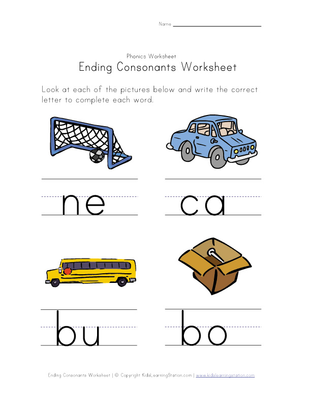 ending consonants worksheet 2