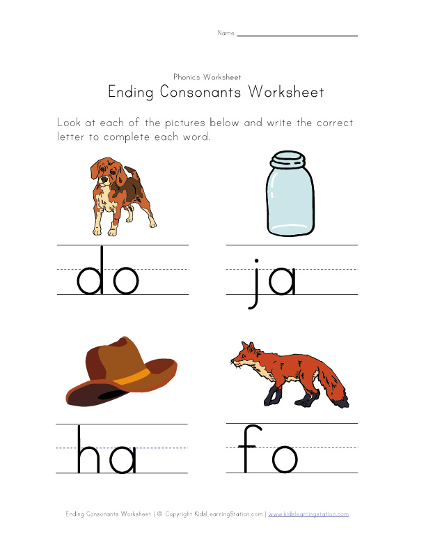 ending consonants worksheet 3